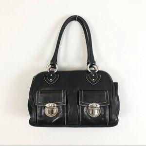 MARC JACOBS Black Leather Handbag Shoulder Bag Silver Plate
